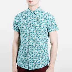 Slim Fit Short Sleeve Floral Print Shirt by Topman in New Girl