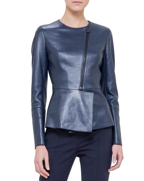 Asymmetric Peplum Leather Jacket by Akris	 in The Good Wife - Season 7 Episode 9
