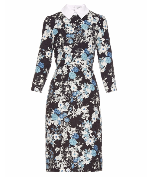 Truman Floral-Print Matelassé Dress by Erdem in The Good Wife - Season 7 Episode 19