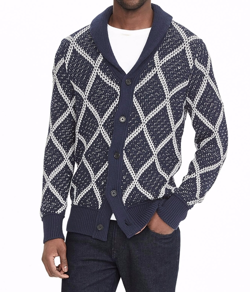 Diamond Jacquard Shawl Cardigan by Banana-Republic in New Girl - Season 5 Episode 16