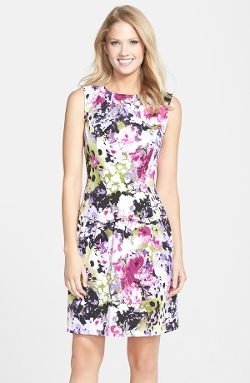 Floral Print Drop Waist Fit & Flare Dress by Adrianna Papell in Dope