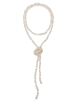 Extra Long Pearl Sautoir Necklace by Ginette NY in Scream Queens