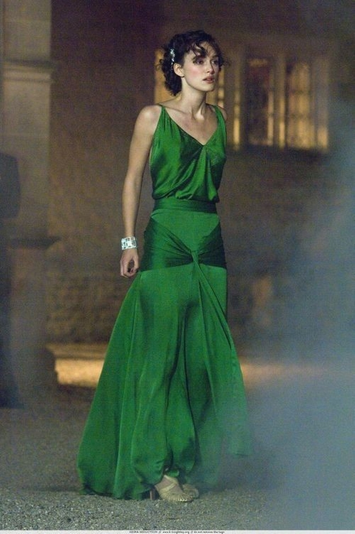 Custom Made Silk Satin Emerald Green Gown by Jacqueline Durran (Costume Designer) in Atonement