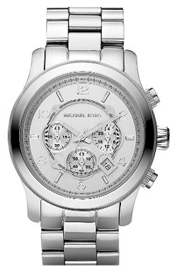 'Silvertone Oversize Iconic' Chronograph Watch by Michael Kors in Get Hard