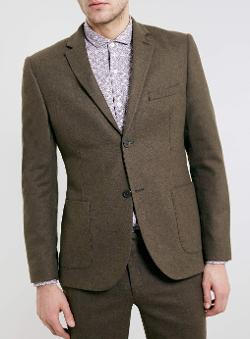 Brown Flannel Heritage Suit Jacket by Topman in Yves Saint Laurent