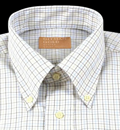 'Gitman Gold' Tan and Blue Tattersall Broadcloth Shirt by Gitman Brothers in Transcendence