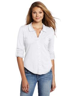 Women's Luxe Slub Raw Edge Fitted Button Down Shirt by Michael Stars in About Last Night