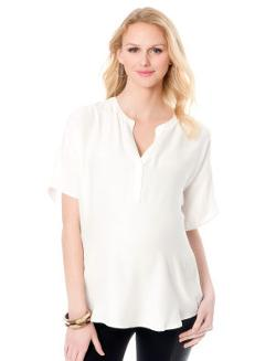 Short Sleeve Dolman Sleeve Maternity Blouse by A Pea in the Pod in And So It Goes