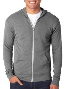 Triblend Unisex Lightweight Hooded Full-Zip T-Shirt by Canvas in About Last Night