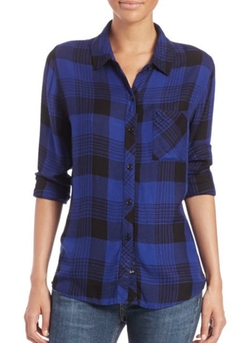Hunter Plaid Button-Down Shirt by Rails in Rosewood