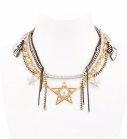 Stars Multi Chain Necklace by Venna in Empire
