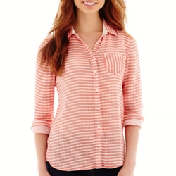 Relaxed Fit Button Front Shirt by Stylus in Jane the Virgin