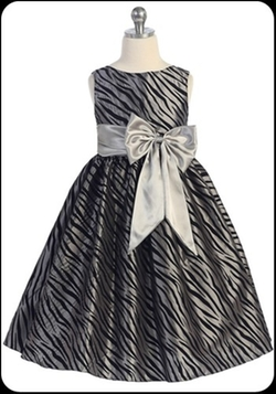 Flock Zebra Pattern Formal Dress by Isabella's Fate in Black-ish