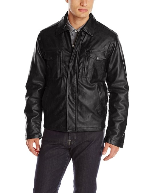 Faux Leather Shirt Collar Jacket by Izod in Entourage