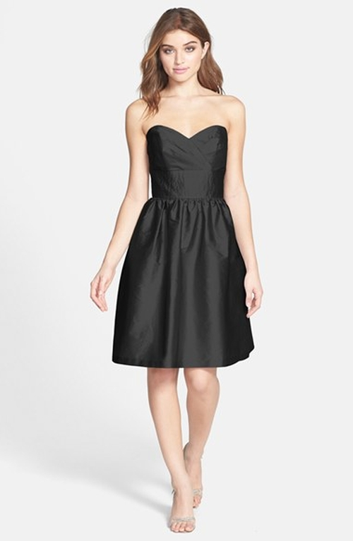 Strapless Satin Fit & Flare Dress by Alfred Sung in The Vampire Diaries - Season 7 Episode 2