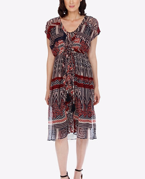 Printed Ruffled Dress by Lucky Brand in Grace and Frankie - Season 2 Episode 9