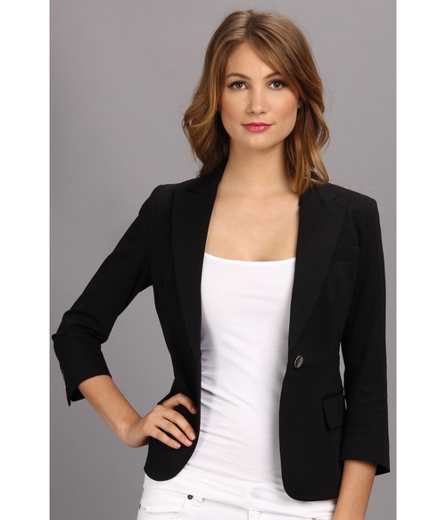 Solid 3/4 Sleeve Blazer by Christin Michaels in Blackhat