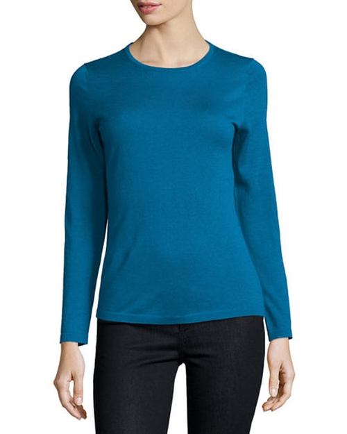 Superfine Cashmere Modern Crewneck Sweater by Neiman Marcus Cashmere Collection in Fifty Shades Darker