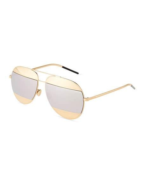 Split Two-Tone Metallic Aviator Sunglasses by Dior in Keeping Up With The Kardashians - Season 12 Episode 9