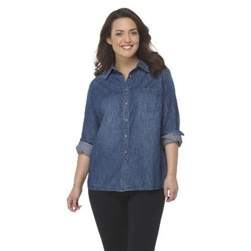 Plus Size Long Sleeve Denim Shirt by Target in If I Stay