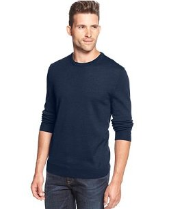 Solid Merino-Blend Crew-Neck Sweater by Club Room in Only God Forgives