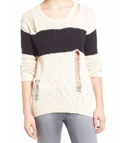 Stripe Destroyed Cotton Sweater by Pam & Gela  in Pretty Little Liars