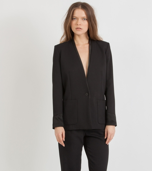 'Fun' Leather-Trimmed Blazer by Maje in Spy