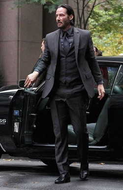 Custom Made Three-Piece Suit by Luca Mosca (Costume Designer) in John Wick