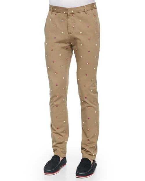 Embroidered-Foulard Chino Pants by Band of Outsiders in Scream Queens - Season 1 Episode 1