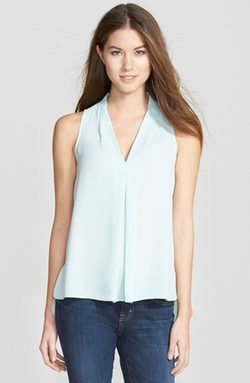 Pleat Front V-Neck Blouse by Vince Camuto in The Best of Me
