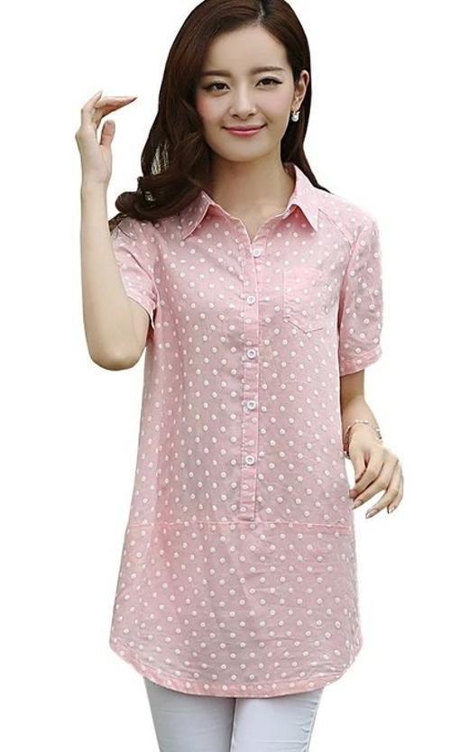 Polka Dots Cotton Casual  Tuxedo Shirt by Latud in Trainwreck