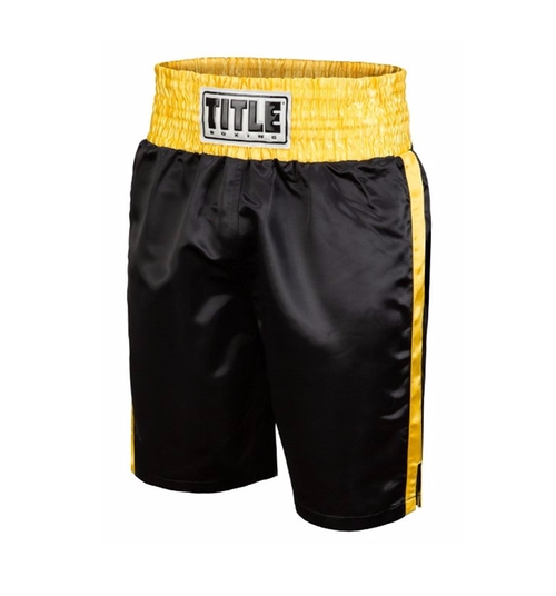 Classic Edge Satin Boxing Trunks by Title Boxing in Hands of Stone
