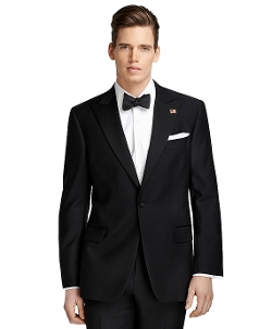 One-Button Peak Lapel Tuxedo by Brooks Brothers in Spy