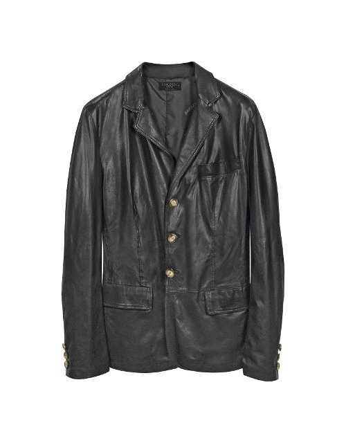 Black Leather 3-Button Blazer Jacket by Forzieri in Taken 3