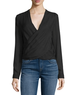 Gia Long-Sleeve Silk Wrap Blouse by L'agence in Billions