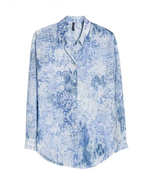 Porcelain Print Long Sleeves Collar Blue Blouse by Chicnova in Limitless