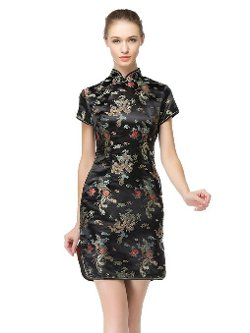 Women's Chinese Dragon and Phoenix Knee-length Dress by Bitablue in The Gambler