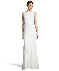Stretch Jersey Draped Open Back Evening Gown by Badgley Mischka in New Girl