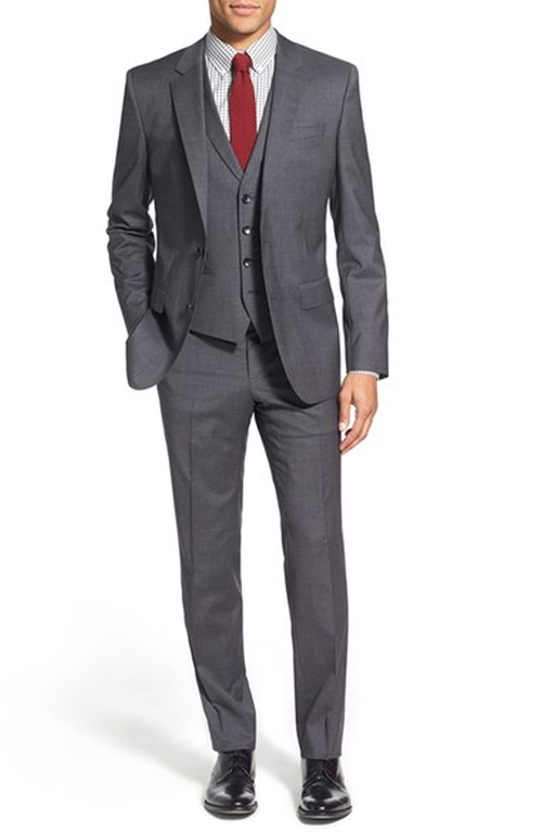 'Hattrick/Final WE' Trim Fit Three Piece Wool Suit by Boss in Burn After Reading