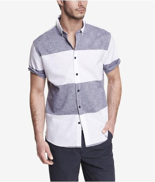 FITTED SHORT SLEEVE STRIPED SHIRT by EXPRESS in Jersey Boys