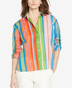 Petite Multi-Striped Shirt by Lauren Ralph Lauren in Mistresses
