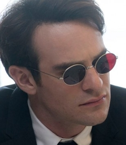 Custom Made Red Lenses Round Sunglasses by Stephanie Maslansky (Costume Designer) in Daredevil