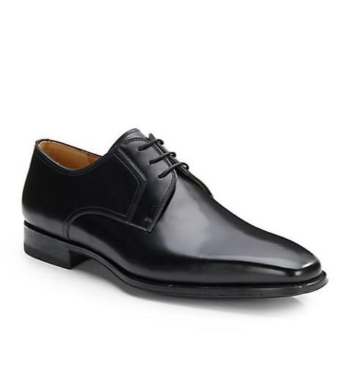 Square-Toe Leather Lace-Up Shoes by Magnanni in Self/Less