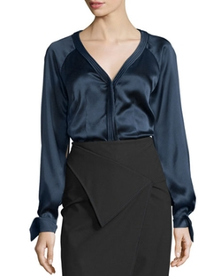 Long-Sleeve Charmeuse Blouse by Zac Posen in Suits