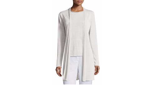 Fine Organic Linen Long Cardigan by Eileen Fisher in Keeping Up With The Kardashians - Season 12 Episode 16
