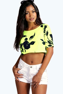 Connie Neon Floral Printed Crop Top by Boohoo in Dope