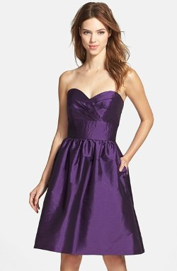 Strapless Satin Fit & Flare Dress by Alfred Sung in No Strings Attached