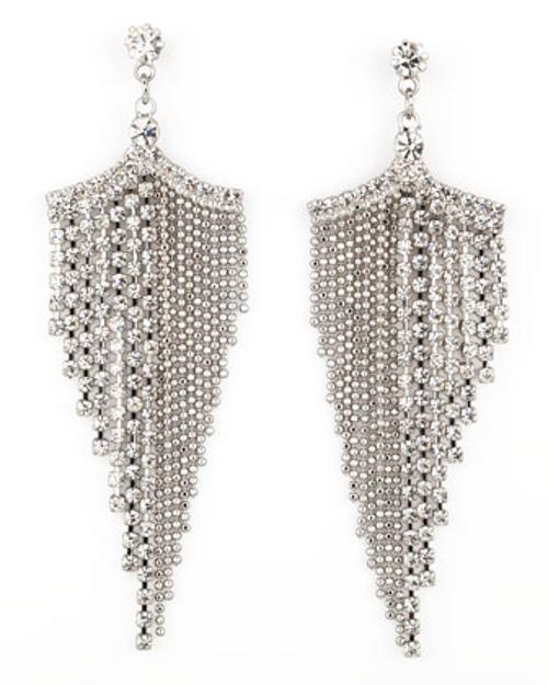 Silvertone Rhinestone Chandelier Earrings by A.V. Max in About Last Night