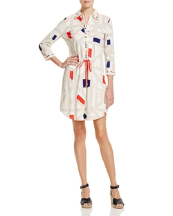 Geo Print Drawstring Shirt Dress by Tory Burch in Mistresses
