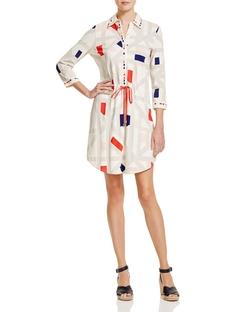 Geo Print Drawstring Shirt Dress by Tory Burch in Mistresses